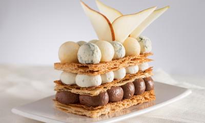 Millefeuille chocolat, poires & Gorgonzola AOP