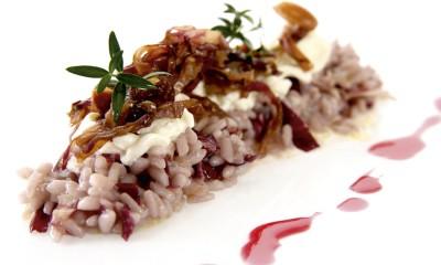 risotto à la Burrata et chicorée à feuilles rouges